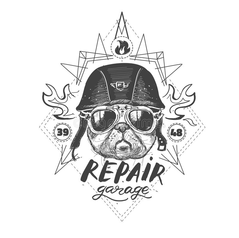 Biker pug dog. Set of vintage motorcycle emblems, labels, badges, royalty free illustration