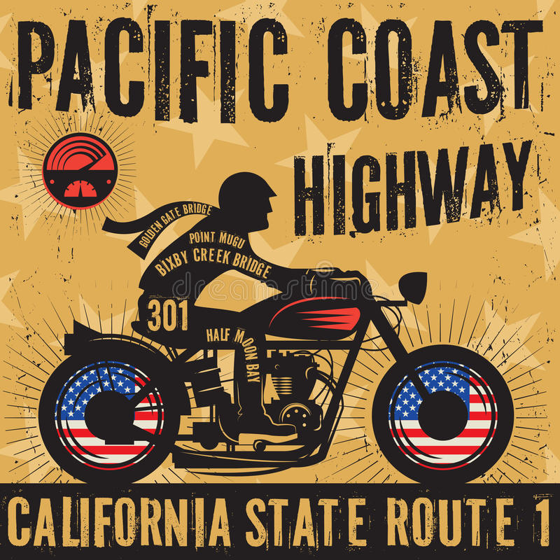 Biker riding a motorcycle poster text Pacific Coast Highway stock illustration