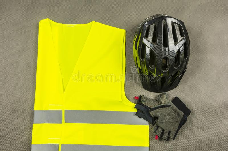 A set for the cyclist to be safe and more visible on the road. royalty free stock photos
