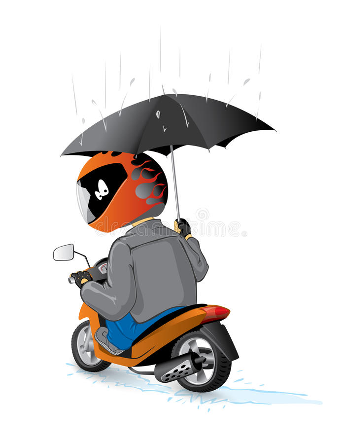 Biker on the scooter with umbrella royalty free illustration