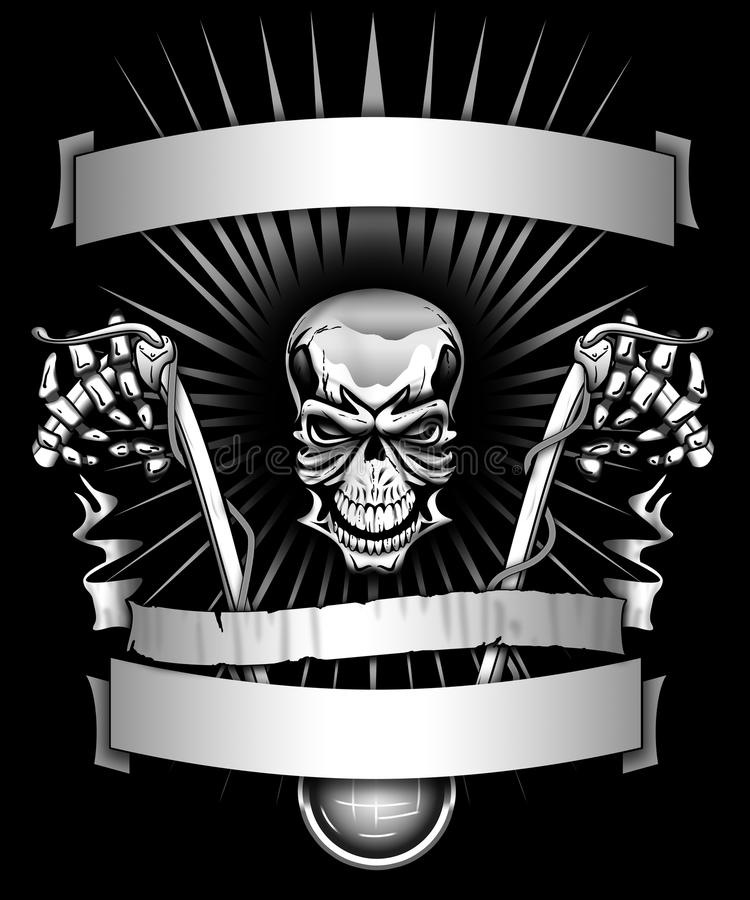 Biker skeleton riding motorcycle with banners graphic stock illustration