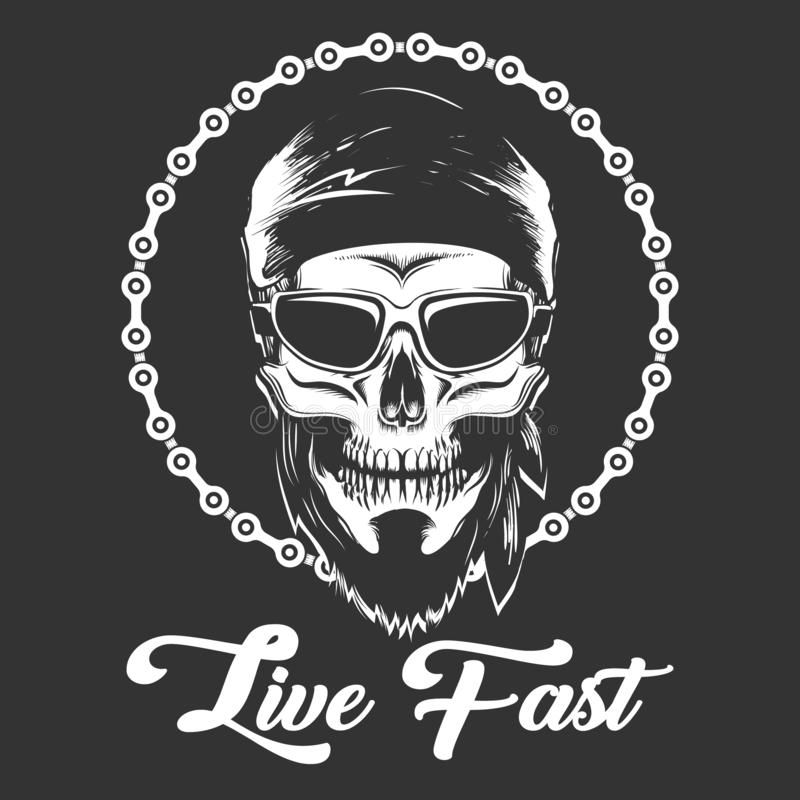 Biker Skull in glasses with wording Live Fast royalty free illustration