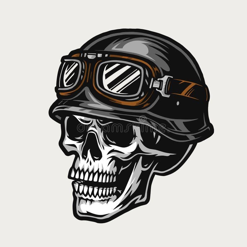 Free Biker Skull Wearing Motorcycle Helmet And Goggles Stock Image - 178076921