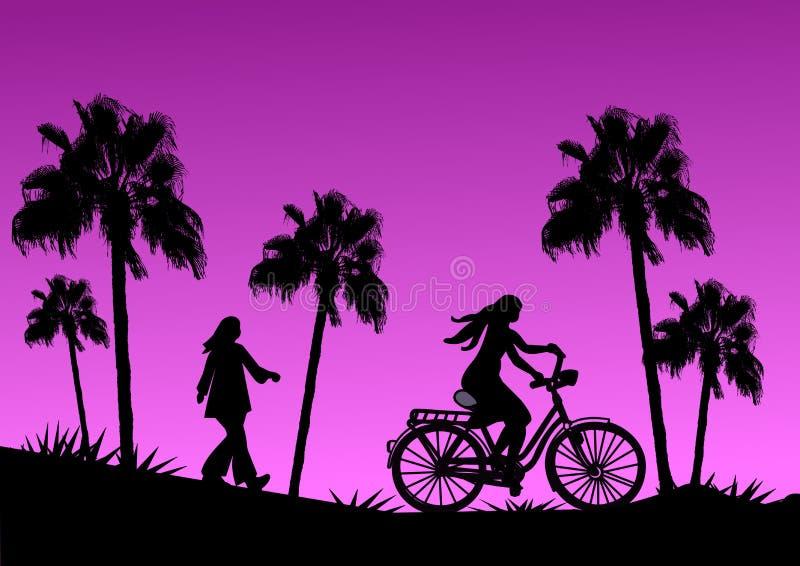 Biker at Sunset stock illustration