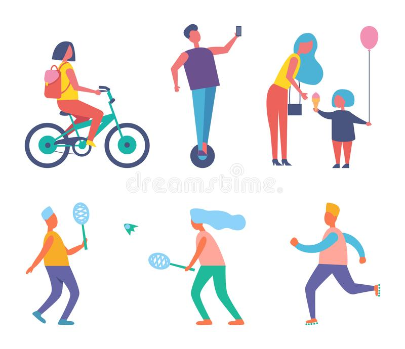 Biker Woman with Rucksack Set Vector Illustration. Biker woman with rucksack on back isolated icons vector. Mother and child eating ice cream, people playing stock illustration