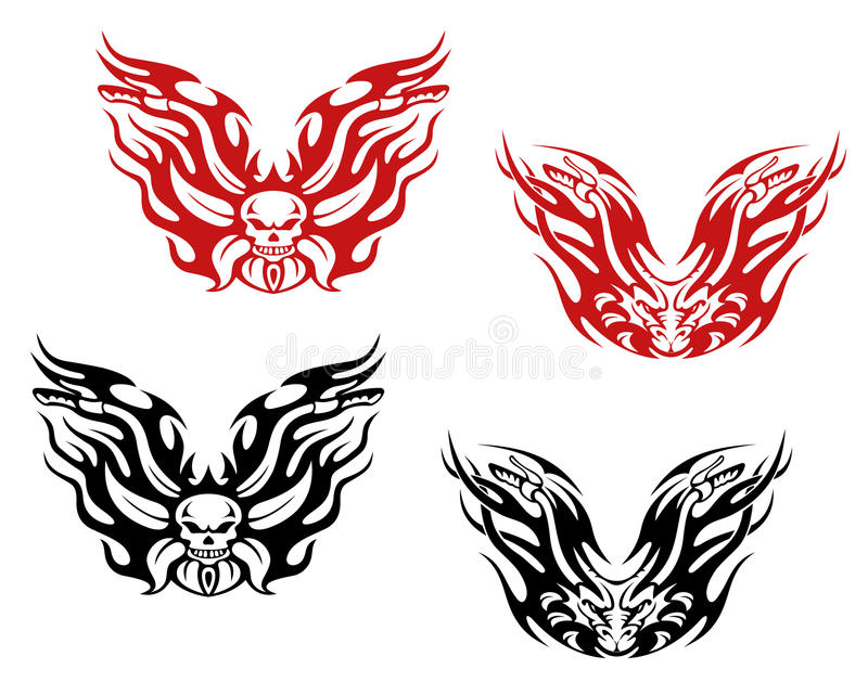 Bikers and bikes tattoos royalty free illustration