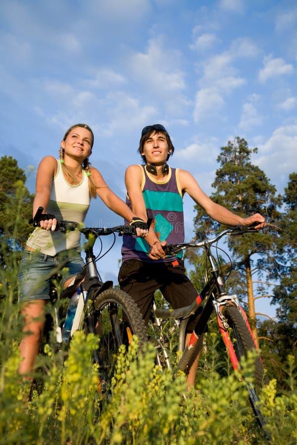 bikers cheerful стоковая фотография