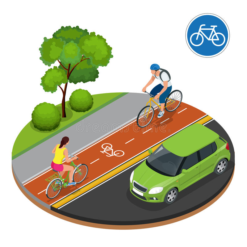 Bikers in city. Cycling on bike path. Bicycle road sign and bike riders. Flat 3d vector isometric illustration. People. Riding bikes. Bikers and bicycling stock illustration