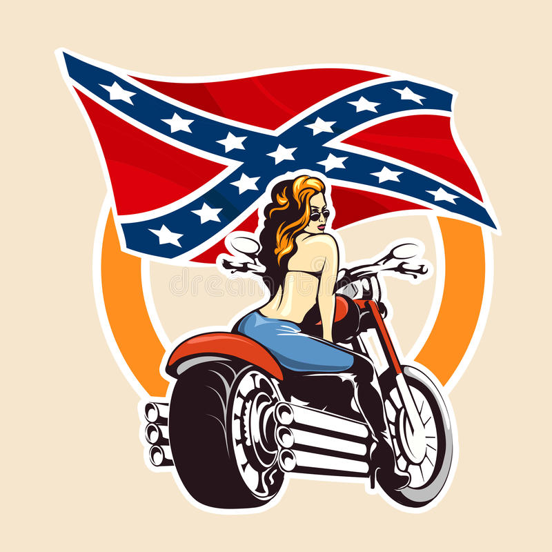 Bikers club Emblem with girl on a motorcycle. Girl ride a motorcycle against confederate flag. Bikers Club or bikers festival emblem or sticker vector illustration