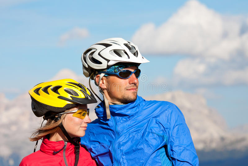 Bikers couple portraits royalty free stock photo