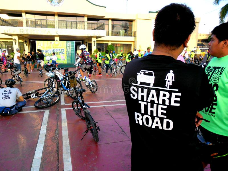 Bikers gather for a bike fun ride in marikina city, philippines. On september 28, 2014 stock image