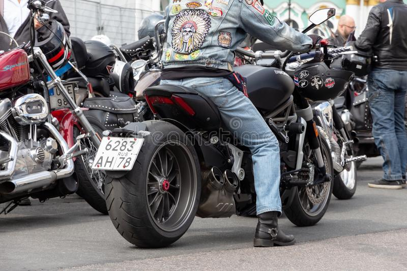 Bikers on a Harley-Davidson motorcycle festival in St. Petersburg. royalty free stock images