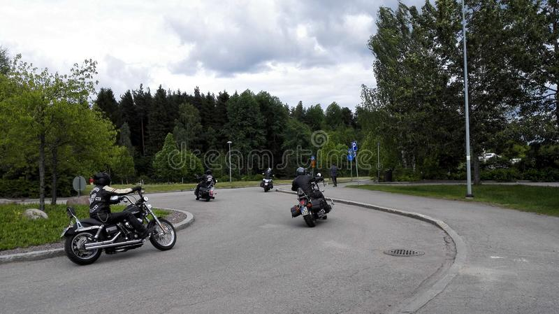Bikers. A hord of motorcycles on a roundabout stock photos