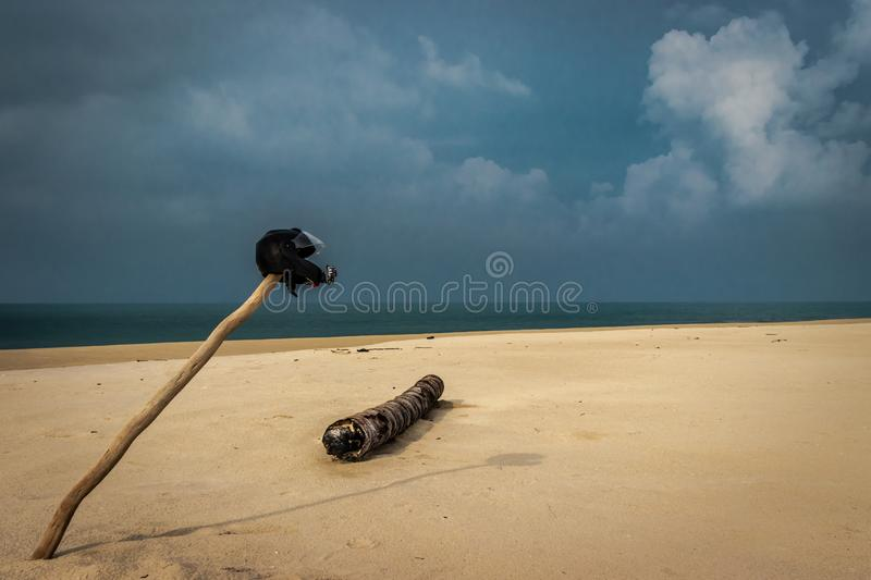 Bikers love of Sandy beach royalty free stock images