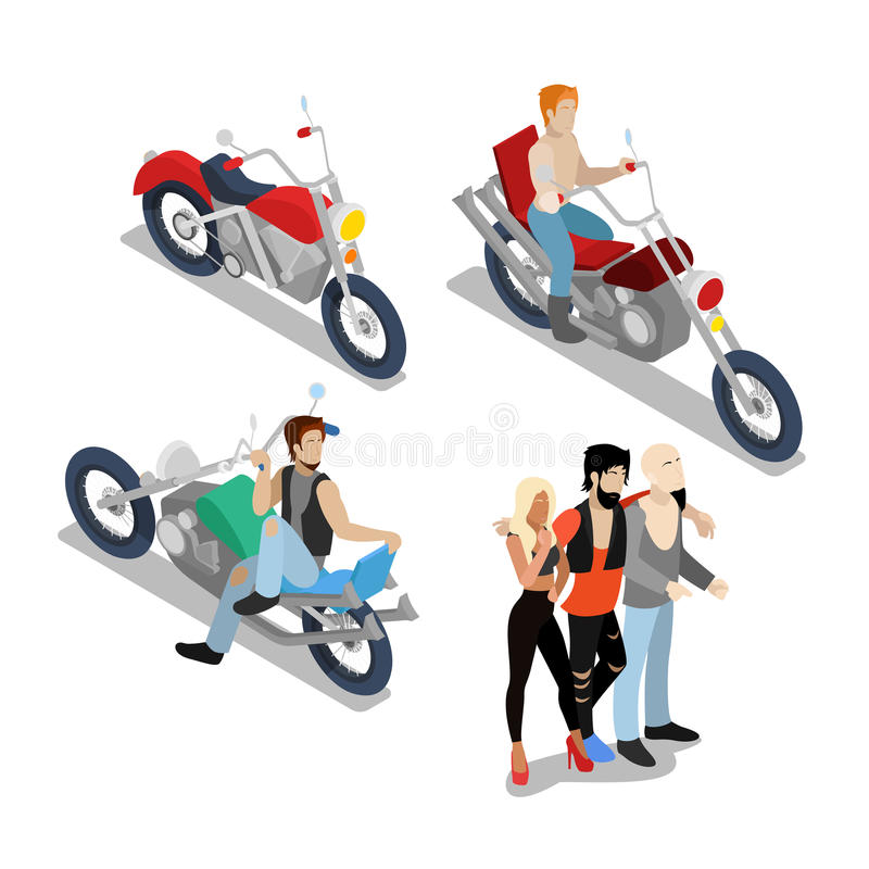 Bikers with Motobikes. Motorcycle Riders stock illustration