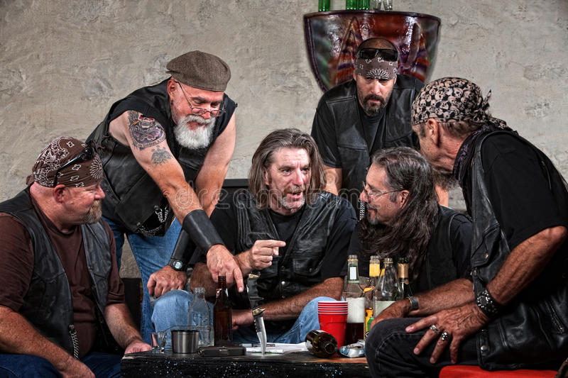 Download Bikers Talking at Table stock photo. Image of beverage - 27174384