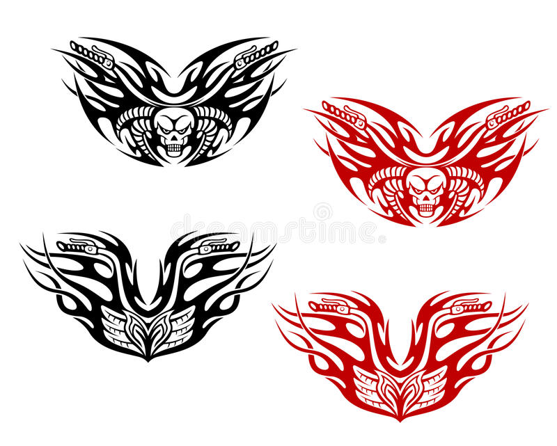 Bikers tattoos with flames vector illustration