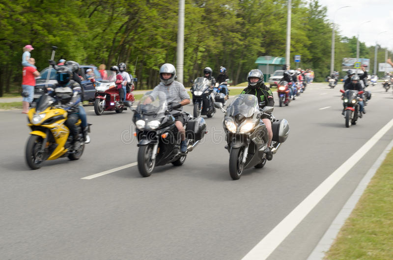 Bikers on their motorcycles in special clothes ride a collar on the outskirts of the city of Brest. Bikers on their motorcycles in special clothes ride a collar royalty free stock photography