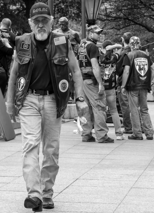 Bikers for Trump at Militia Demonstration in Columbus, OH stock afbeelding