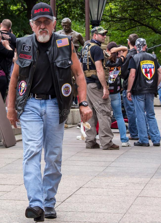 Bikers for Trump at Militia Demonstration in Columbus, OH royalty-vrije stock afbeelding