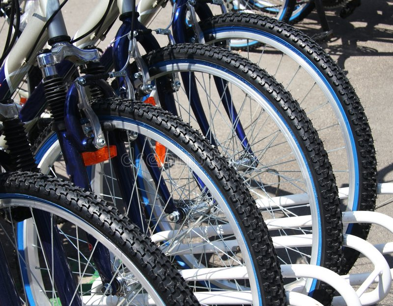 Bikes. Parked on the street royalty free stock image