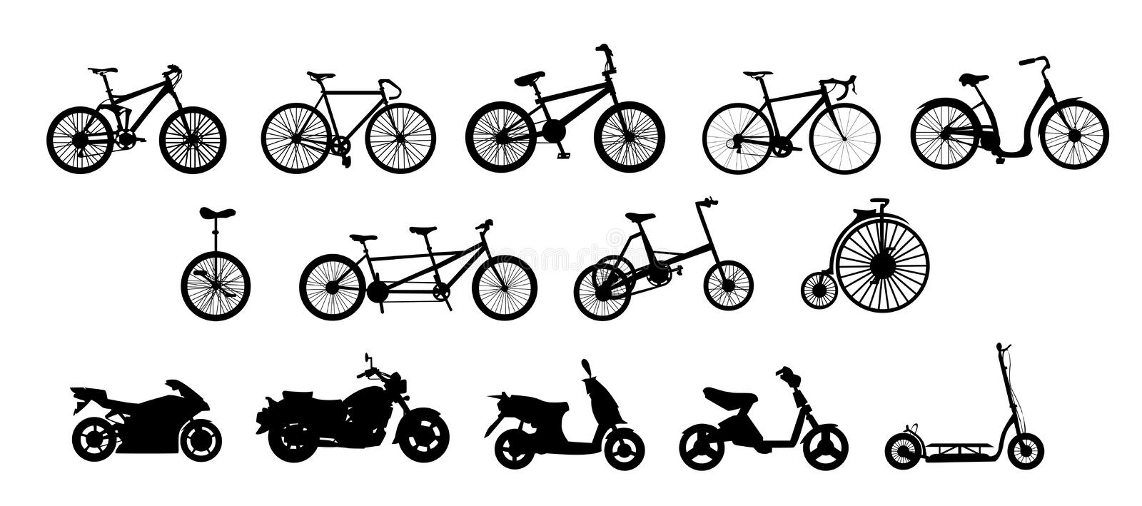 Bikes. Illustration of 14 different (motor)bikes: 1st row: mountain, track, BMX, racing and cruiser bicycles. 2nd row: unicycle, tandem, tricycle and vintage