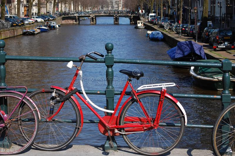 Bikes on a Bridge at the water in Holland royalty free stock images