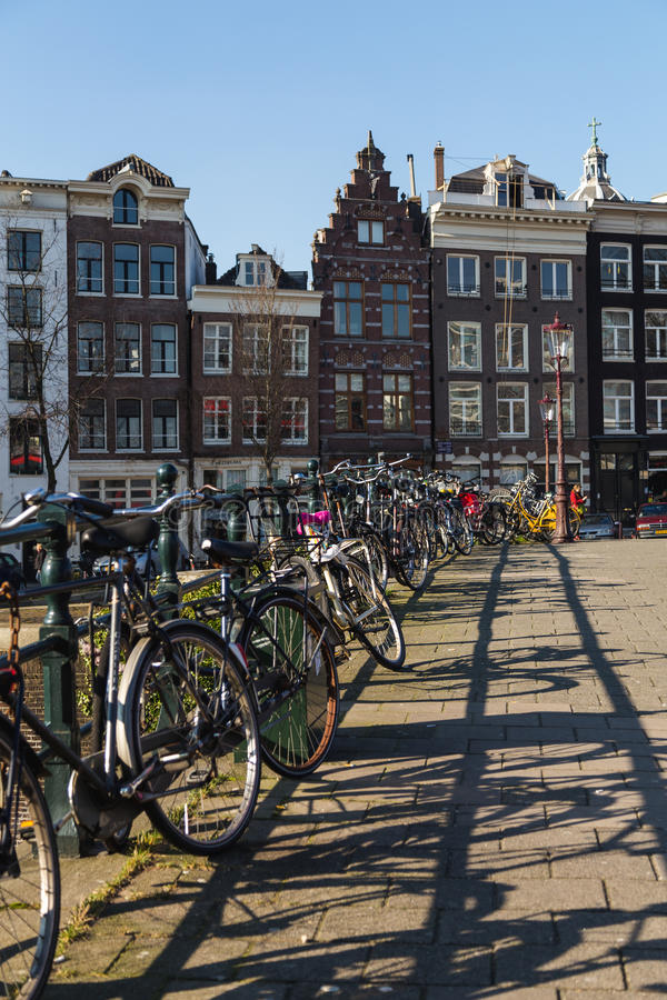 Bikes and Buildings in Amsterdam royalty free stock photography