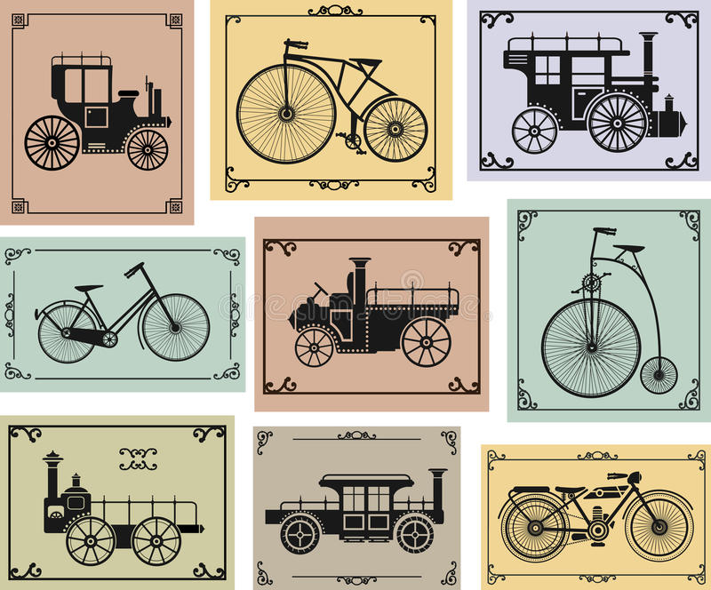 Bikes and cars stock illustration