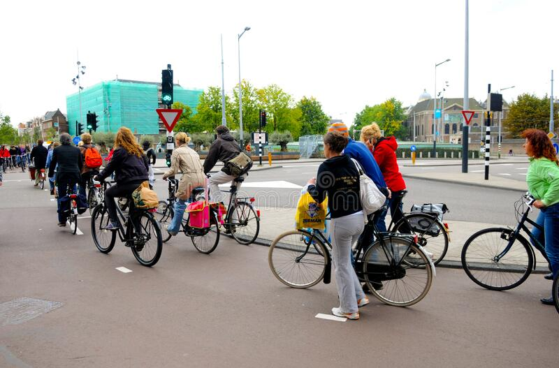 Rush Hour, Bikes in the City, Europe Outdoor Lifestyle, Amsterdam royalty free stock photography