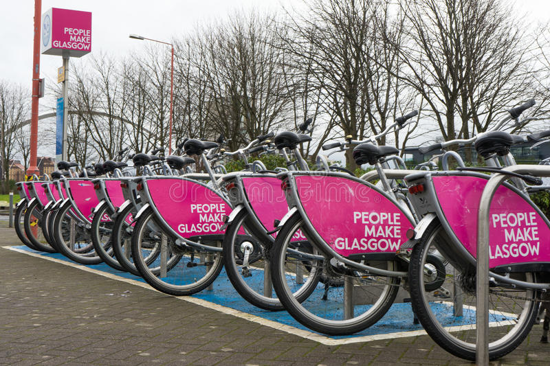Bikes for hire Glasgow royalty free stock image