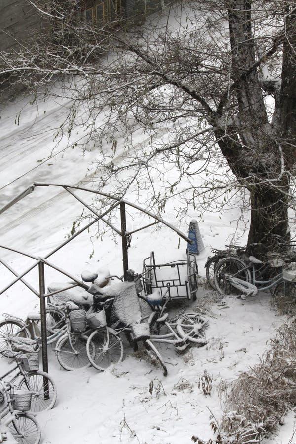 Bikes il coverd con neve fotografie stock