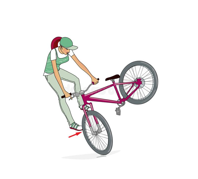 Bikes Jumping Ramps. A girl on a bicycle trains a rack, turns and jumps on a bicycle ramp. Bicycle jumping ramp. Exercise. Isolated on white background vector illustration
