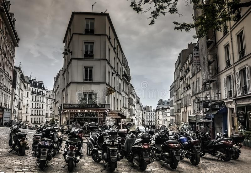 Bikes in old city, paris royalty free stock image