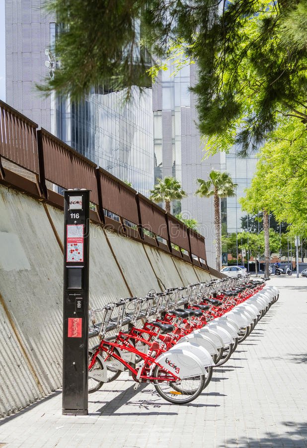 Bikes parked on the street in Barcelona, Spain stock images