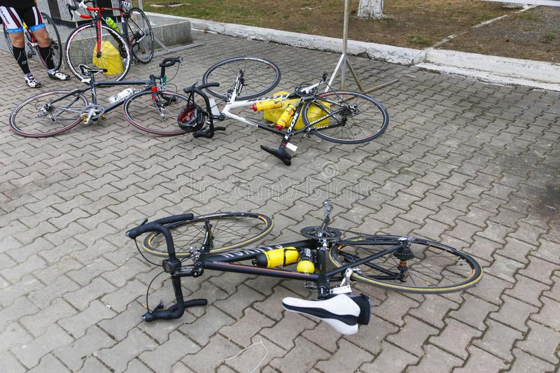Bikes parked after a street race stock photography