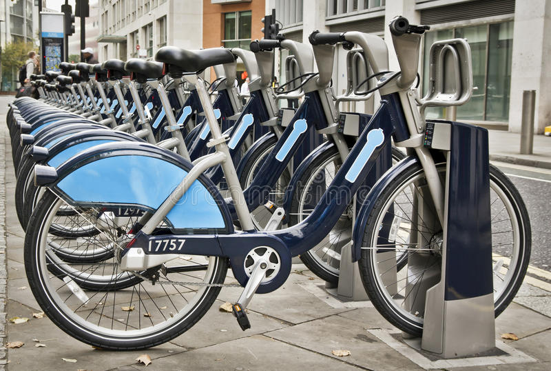 Bikes for rent. In London royalty free stock photos