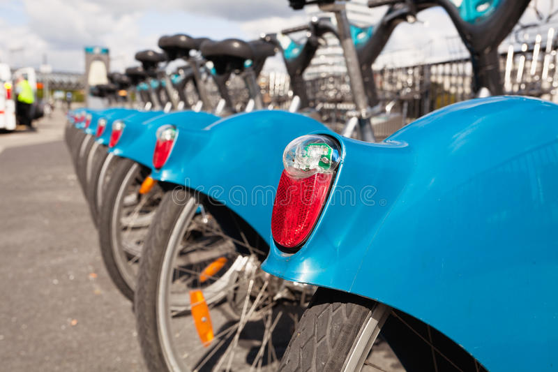 Bikes for rent in the city royalty free stock image