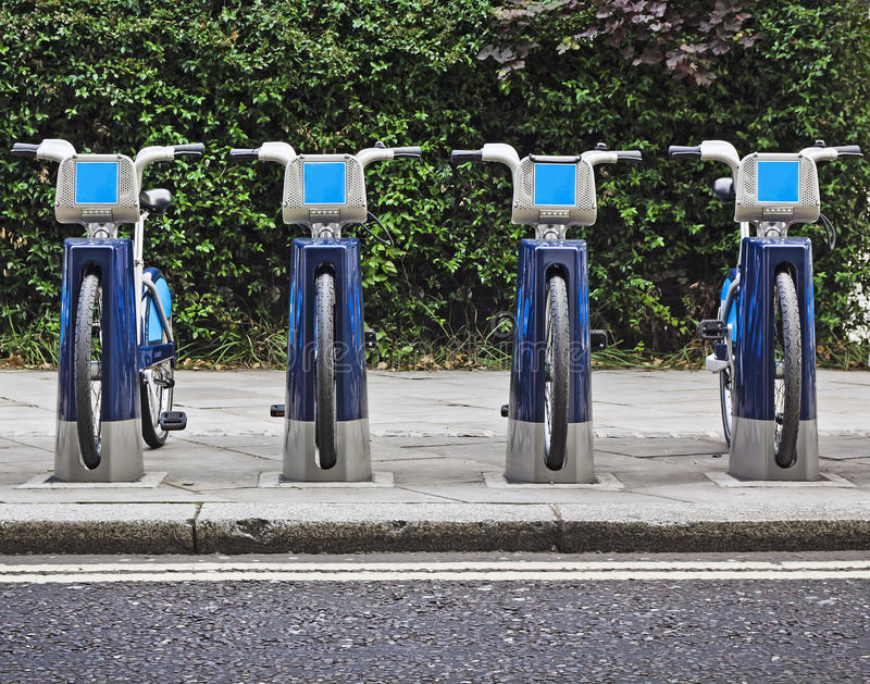 Bikes for rent in London. Cycling scheme Bikes for rent in London royalty free stock images