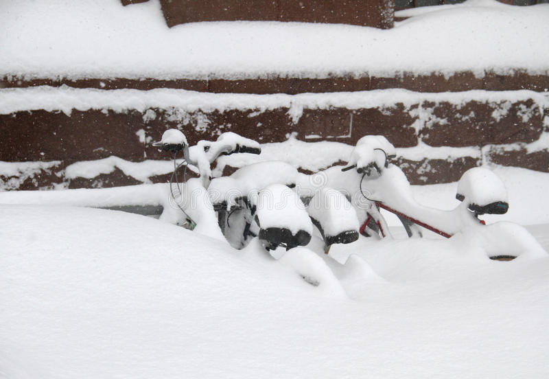 Download Bikes in Snow stock photo. Image of bars, winter, england - 17796368