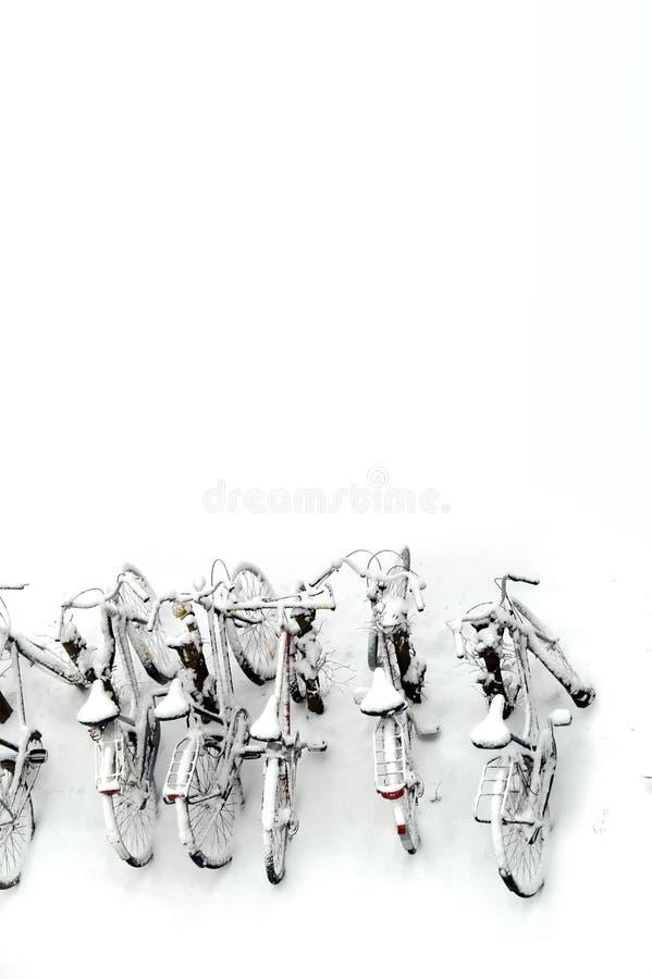 Bikes in snow stock image