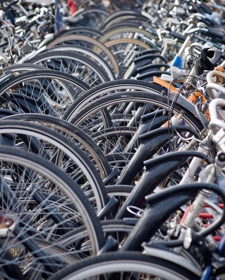 Bikes Stacked Deep at a Train Station in Haarlem stock images