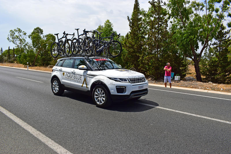 Aqua Blue Team Car La Vuelta España royalty free stock photography
