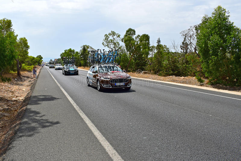 A2GR La Mondiale Team Car La Vuelta España royalty free stock images