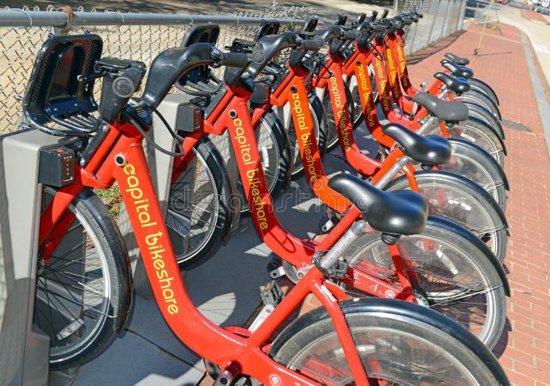 Bikeshare capital, un programme de part de bicyclette dans le Washington DC image stock