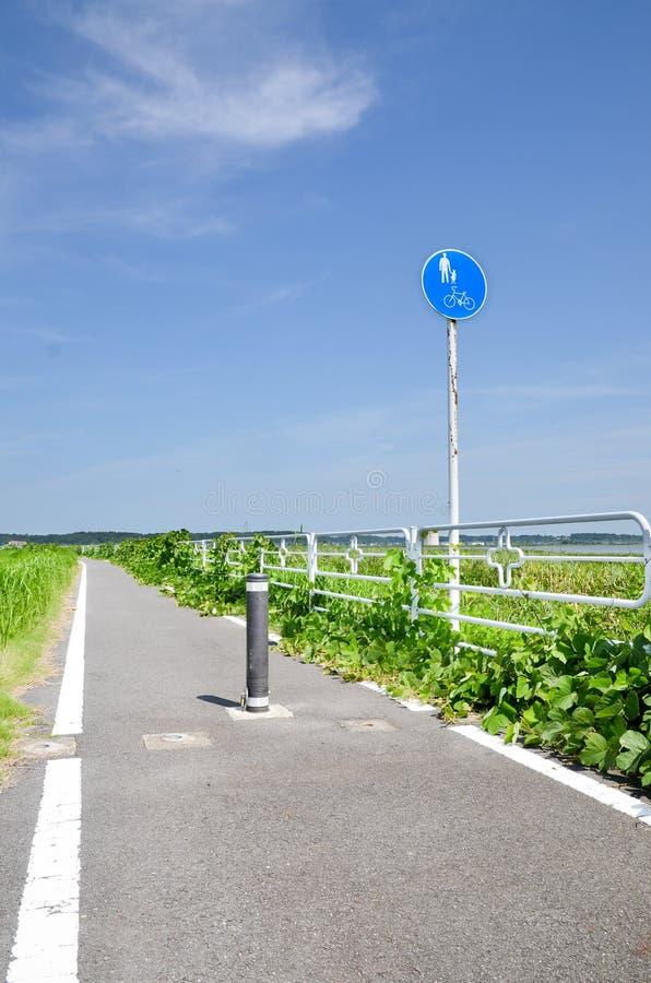 Bikeway bij Oever van het meer Chiba, Japan stock fotografie