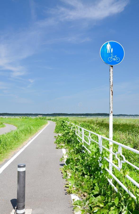 Bikeway bij Oever van het meer Chiba, Japan stock afbeelding