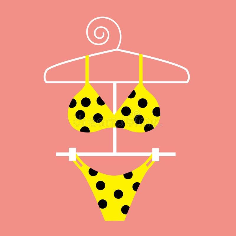 Bikiní amarillo del punto de polca stock de ilustración