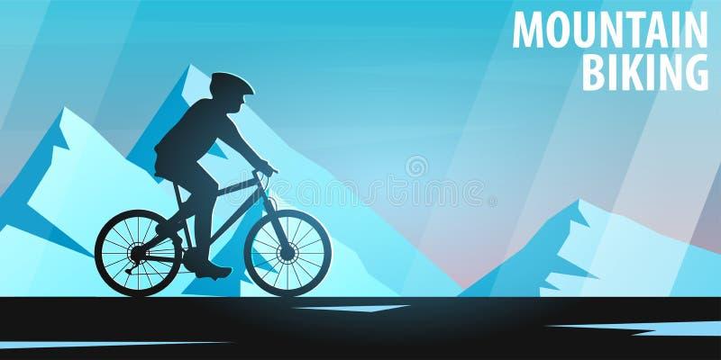 biking βουνό λόφων ανακύκλωσης επάνω ποδήλατο προς τα κάτω Αθλητικό έμβλημα, ενεργός τρόπος ζωής επίσης corel σύρετε το διάνυσμα  απεικόνιση αποθεμάτων