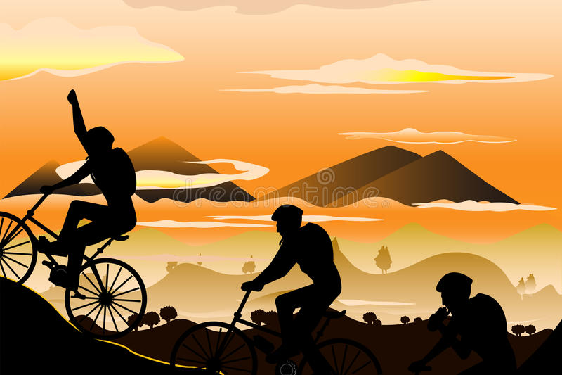 biking βουνό απεικόνιση αποθεμάτων